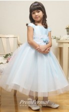 Cute Princess Ankle-length Sky Blue Flower Girls Dresses FGD430