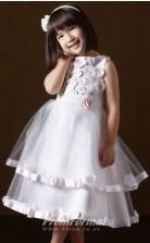 New Style A-line Tea-length Pink Flower Girls Dresses FGD441
