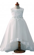 White A Line Jewel Asymmetrical Kid's Prom Dresses(HT01)