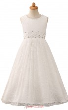 White Lace Princess Jewel Floor-length Kid's Prom Dresses(HT05)