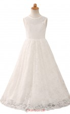 White Lace Princess Jewel Floor-length Kid's Prom Dresses(HT06)