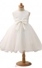 White Princess Jewel Tea Length Kid's Prom Dresses(HT11)