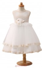 White Princess Jewel Tea Length Kid's Prom Dresses(HT12)
