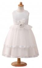 White Princess Jewel Tea Length Kid's Prom Dresses(HT15)