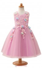 Lilac Princess Jewel Tea Length Kid's Prom Dresses(HT19)