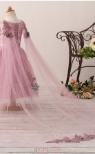 Salmon Princess V-neck Tea Length Kid's Prom Dresses(HT22)