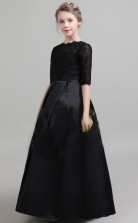 Black Satin Lace Half Sleeved Junior Bridesmaid Dress Flower Girl Dress JFGD001