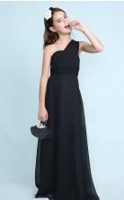 Black Chiffon One Shoulder Junior Bridesmaid Dress Flower Girl Dress JFGD003