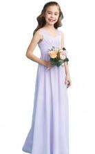 Lilac Long V Neck Chiffon Junior Bridesmaid Dress Flower Girl Dress JFGD004