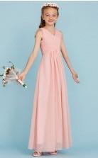 Simple Pink Long Chiffon Junior Bridesmaid Dress Flower Girl Dress JFGD005