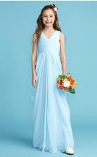 V Neck Sky Blue Chiffon Junior Bridesmaid Dress Flower Girl Dress JFGD008