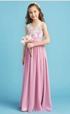 Pink Lace V Neck Chiffon Child Bridesmaid Dress Flower Girl Dress JFGD011