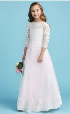 White Tulle Lace Junior Bridesmaid Dress First Communion Dress JFGD012