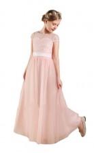 Pink Lace Chiffon Cap Sleeved Child Bridesmaid Dress Flower Girl Dress JFGD015