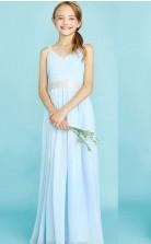Baby Blue Chiffon Straps V Neck Child Bridesmaid Dress Flower Girl Dress JFGD016