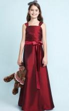 Burgundy Satin Junior Bridesmaid Dress Flower Girl Dress with Sashes JFGD020
