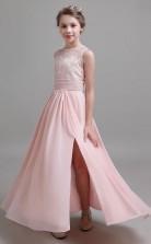 Pink Lace Chiffon Child Bridesmaid Dress Flower Girl Dress JFGD022