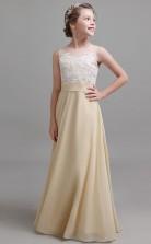 Champange Chiffon Lace Child Formal Dress Birthday Party Dress JFGD025