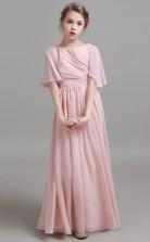 Pink Chiffon Child Formal Dress Junior Bridesmaid Dress JFGD026