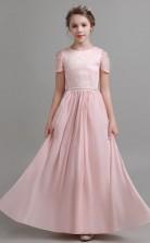 Pink Chiffon Kids Formal Dress Junior Bridesmaid Dress JFGD027