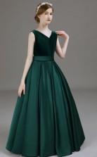 Dark Green Kids Formal Dress Junior Bridesmaid Dress JFGD028