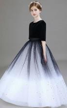 Half Sleeve Black and White Kids Formal Dress Junior Bridesmaid Dress JFGD029