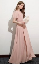 Pink Short Sleeve Chiffon Kids Formal Dress Junior Bridesmaid Dress JFGD034