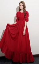 Red Half Sleeve Chiffon Kids Formal Dress Junior Bridesmaid Dress JFGD035