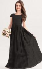 Black Short Sleeve Chiffon Kids Formal Dress Junior Bridesmaid Dress JFGD036