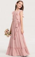 Pink Chiffon Kids Formal Dress Junior Bridesmaid Dress JFGD037