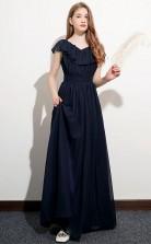 Navy Blue Chiffon Short Sleeved Child Bridesmaid Dress Flower Girl Dress JFGD038