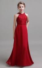 Burgundy Halter Lace Chiffon Kids Formal Dress Junior Bridesmaid Dress JFGD039