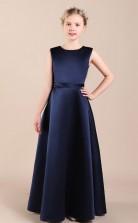 Navy Blue Satin Child Bridesmaid Dress Flower Girl Dress JFGD041