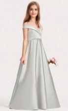 Silver Satin First Communion Dress Flower Girl Dress JFGD043