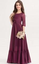 Dark Burgundy Half Sleeve Child Bridesmaid Dress Flower Girl Dress JFGD044