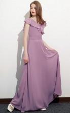 Purple V-neck Chiffon Child Bridesmaid Dress Flower Girl Dress JFGD046