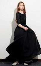Navy V-neck Chiffon Child Bridesmaid Dress Flower Girl Dress JFGD047