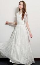 White Half Sleeved Lace Child Bridesmaid Dress Flower Girl Dress JFGD048