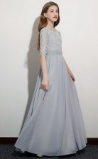 Half Sleeved Lace Chiffon Child Bridesmaid Dress Flower Girl Dress JFGD049