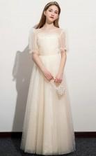 Half Sleeved Tulle Child Bridesmaid Dress Girls Birthday Party Dress JFGD051
