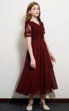 Dark Burgundy Lace Chiffon Child Bridesmaid Dress Girls Birthday Party Dress JFGD052