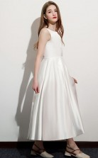 Ivory Satin First Communion Dress Flower Girl Dress JFGD053