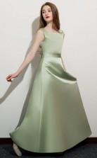 Sage Satin First Communion Dress Flower Girl Dress JFGD054