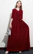 Half Sleeved Sequins Child Bridesmaid Dress Girls Birthday Party Dress JFGD055