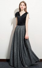 Black V Neck Sequins Kids Prom Dress Girls Birthday Party Dress JFGD057