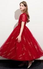 Red Short Sleeve Tulle Kids Prom Dress Girls Birthday Party Dress JFGD058
