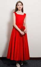 Red Satin First Communion Dress Flower Girl Dress With Bows JFGD061
