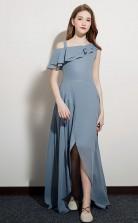 Dusty Blue One Shoulder High Low Junior Bridesmaid Dress Flower Girl Dress JFGD063