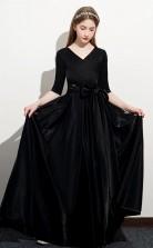 Black Half Sleeved Child Prom Dress Girls Birthday Party Dress JFGD064