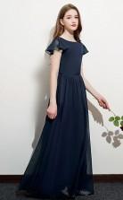 Navy Blue Short Sleeve Junior Bridesmaid Dress Girls Birthday Party Dress JFGD065